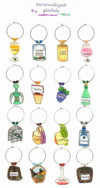 wine themed wine charms. Create the set you want!