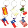 set of 6 TX flag wine charms