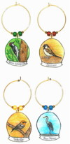 acorn woodpecker, sparrow, warbler, blue heron charms