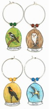 yellow-billed magpie, barn owl, red-winged blackbird, swallow charms