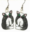 black-white cat earrings