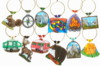 customized camping set of 12 wine charms