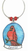 Cardinal in Oval charm