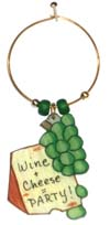 cheese party wine charm