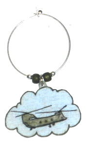 chinook helicopter wine charm