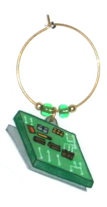 computer chip wine charm