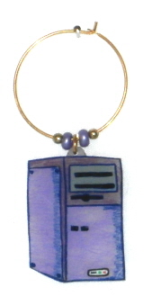 computer tower wine charm