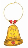 gold bell wedding favor charm