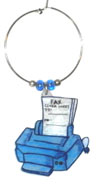fax machine wine charm