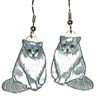 grey and white cat earrings