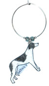 greyhound wine charm
