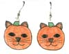 pumpkin cat earrings