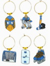 Hockey Blue  Notes wine charms