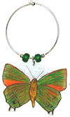 jamican green hairstreak butterfly wine charm