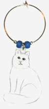white longhair cat wine charm