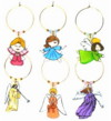 set of 6 angel wine charms