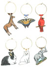 animal wine charms