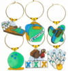 bowling charms in blue and green