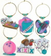bowling charms in pink and purple