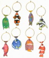 bright tropical fish wine charms