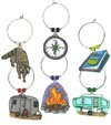 set of 6 camping wine charms