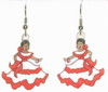 flamenco dancer in red ruffles earrings