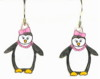 penguins with pink bows earrings