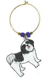 black and white shih tzu puppy wine charm