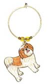 shih tzu puppy brown and white wine charm